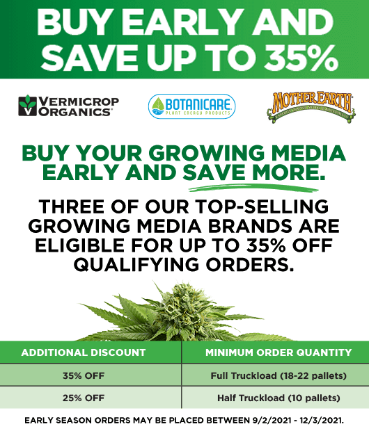 Buy early and save on cannabis cultivation growing media
